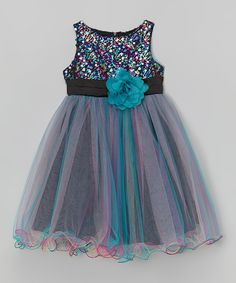 Look at this Teal Sequin-Overlay Dress - Kids on #zulily today!