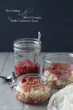 Rice Pudding with Blood Oranges in Vanilla Cardamom Syrup | Baking a Moment