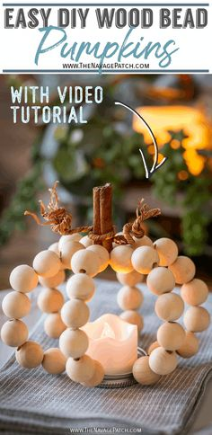 DIY Wood Bead Pumpkins - a cute and easy fall craft | DIY Wood Bead Pumpkins Candle Holder| How to Make a Pumpkin Candle Holder | Easy DIY fall pumpkin crafts | Cute pumpkin craft ideas | Easy fall pumpkin craft ideas | No carve pumpkin ideas | 10 minute DIY fall decor | DIY Wooden Ball Pumpkins | #TheNavagePatch #easydiy #Fallcraft #pumpkin #autumn #falldecor #DIY #thanksgiving #videotutorial #DollarStore #DollarTree #diypumpkin | TheNavagePatch.com