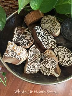 Intricate Block printing stamps in a bowl - great decorating idea