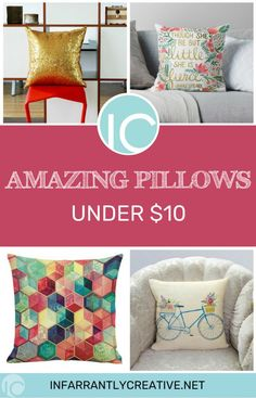 Change the look of your room with these Amazing Pillows Under $10. Pillows are lipstick to a room and I am changing them all the time. Here are a variety that won't break the bank! #pillows #amazon #decoratingideas #budgetfriendly Diy Craft Projects, Sewing Projects, Sewing Tips, Sewing Hacks, Sewing Crafts, Decorating Your Home, Diy Home Decor, Decorating Ideas, Knock Off Decor