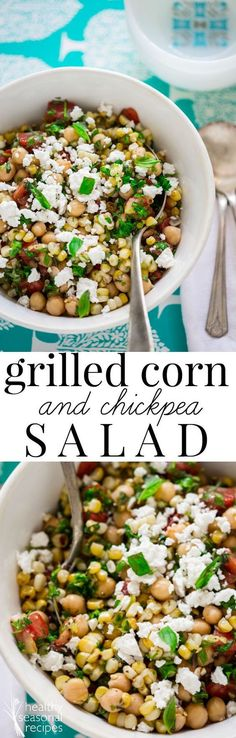 This grilled corn and chickpea salad is so easy and delicious. You'll wish you had made a double batch! It has basil, parsley and tomatoes in it. I also added in mild goat feta too, but if you want to keep it vegan simply omit it. Grain-free and naturally gluten-free. Healthy Seasonal Recipes