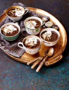 Mushroom and chestnut soup with truffle oil - Serve in small cups as an elegant starter; to serve a larger amount in bowls, double the quantities.