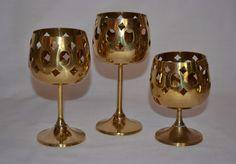 Set 3 Vintage SOLID BRASS CANDLE Holder Goblets Altar Wedding Decor Made India #Unknown #AltarWeddingDecor