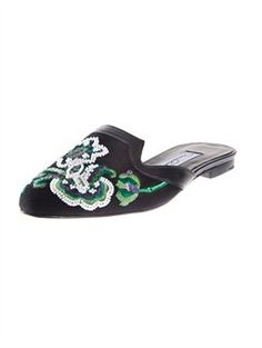 SPANISH MULE    Our signature Spanish mules are coveted among fashion lovers for its comfortable approach to ladylike style. Crafted from fine black linen and embroidered with an intricate paisley pattern, these slides will infuse grace and charm into any wardrobe.    Made in Italy    Style #9710-45-001