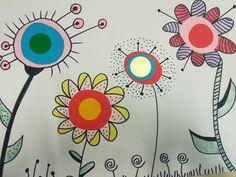 Coloriage fleuri, simple, avec quelques gommettes