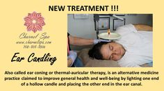 New Treatment !!! Ear Candling !!!  Also called ear coning or thermal-auricular therapy, is an alternative medicine practice claimed to improve general health and well-being by lighting one end of a hollow candle and placing the other end in the ear canal.  Call for more details or book your appointment today! www.charnelspa.com or 702 808-8506  #charnelspa #oxygenfacial #bestspainvegas