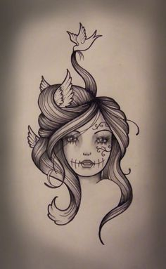 Sexy Sugar Skull Girl Drawing | Kate Muir: Bird Hair Gypsy Girl Tattoo Design