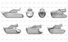 Wireframe design of modern motor boat without sails. Side, front, back and axonometric view. Vector Illustration of isolated objects over blue background.
