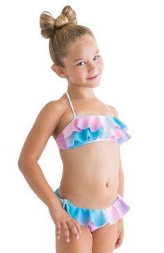 0df2dd266e961 Stella Cove  Pastel Rainbow  Ruffle Two-Piece Swimsuit Little Girl  amp  Big
