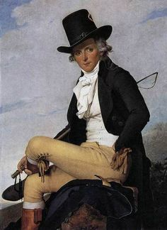 Portrait of Pierre Sériziat by Jacques-Louis David,1795  I promised to post both riding habits and more examples of men's fashion so here are the two of them combined.