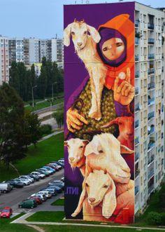 Mural ma 33 metry wysokości i 13 metrów szerokości, Łódź, al. Wyszyńskiego 80. Autor: Inti. Fot. Hh
