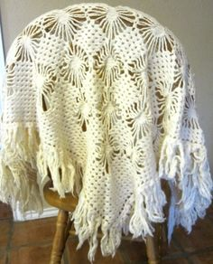 Vintage Scarf Shawl Crocheted Ivory Fringed by sweetie2sweetie, $14.99