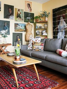 The Living Room: The couple uses the main living area to showcase their most intriguing collections. While almost everything here was thrifted, the brand-spanking-new sofa was a gift.