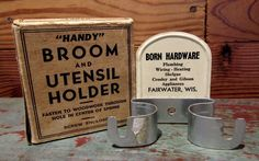 Antique Advertising NOS BORN HARDWARE Handy Broom Utensil Holder Original Box #HandyBroomUtensilHolder