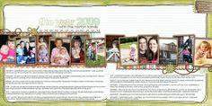 the year 2009 2 page scrapbook layout