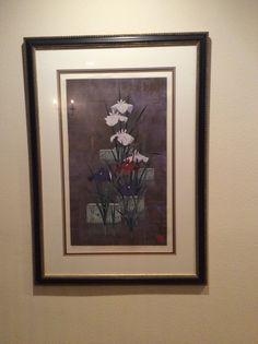 "Artist, Sugiura, ""Iris"", 39/68, silkscreen, 35"" x 48"" In upstairs hallway"