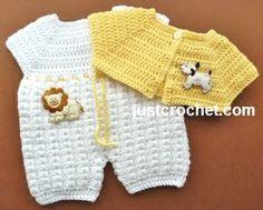 Free baby crochet pattern for bodysuit and short jacket http://www.justcrochet.com/bodysuit-short-jacket-usa.html #justcrochet
