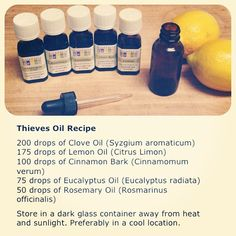 Thieves oil recipe #thievesoil #essentialoils