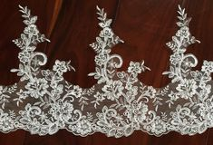 Width 10.62 inches ivory wedding lace trimlace trim by JimiLace 7.25$/yard