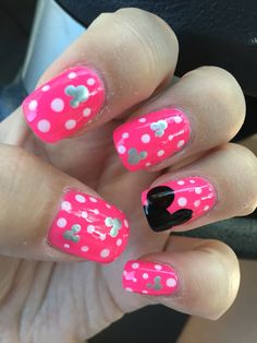 Disney nails, Mickey Mouse, polka dots, hot pink