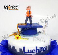 esta es una torta de graduación para un ingeniero civil, con detalles únicos en ella, visita la pagina de face de MONICA PASTAS Y DULCES Cupcakes, Cupcake Cakes, Cake Photos, Pasta Flexible, Fondant, Cake Decorating, Birthdays, Birthday Cake, Food And Drink