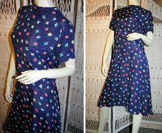 40's Navy Blue Cold Rayon Flower Print Dress
