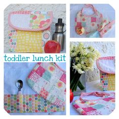 no tutorial - but great idea for a babes lunch kit - placemat/cutlery holder and matching bib!