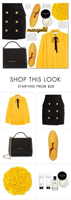 """""""Stay Golden: Dressing in Marigold"""" by pankh ❤ liked on Polyvore featuring Gucci, Balmain, Givenchy, Mercedes Castillo, Illamasqua and Bobbi Brown Cosmetics"""