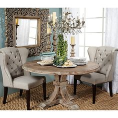 DR - Airy formal and rustic Z Gallerie - Archer Round Dining Table. - Home Decor Designs Round Dining Table, Dining Room Table, Dining Area, New Furniture, Dining Room Furniture, Affordable Modern Furniture, Dining Room Inspiration, White Paneling, Home Kitchens
