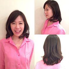 笑顔が可愛い!  #ピンクのリネンシャツ #ピンクが似合う #肩を開いてその腕をおろすと綺麗に写る #モデルポージング #ヘアモデル募集年齢不問 #Agnos青山#表参道#青山#hair#nail#totalbeauty