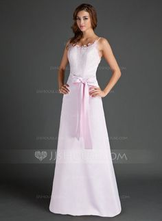 Sheath Column Scoop Neck Floor-Length Satin Lace Bridesmaid Dress With Bow(s 7894d93ad51e
