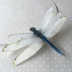 Flying - Handmade Blue Dragonfly Necklace Chocker - Silk Organza and Cotton