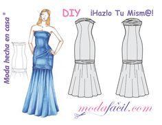 Descarga Gratis los patrones de corte del vestido de Dama de Honor disponible en 10 tallas