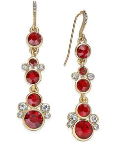 Charter Club Gold-Tone Red Stone and Crystal Accent Linear Earrings