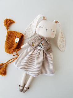 Bunny doll, fabric doll , cloth doll,gift for girl, heirloom Fabric Doll Pattern, Fabric Dolls, Doll Patterns, Doll Tutorial, Sewing Dolls, Gifts For Girls, Handmade Toys, Doll Accessories, Fabric Crafts