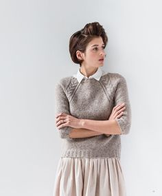 Love the chunky texture of this raglan sweater. I might be tempted to lengthen the sleeves though. from Brooklyn Tweed // Wool People 7 Sweater Knitting Patterns, Knit Patterns, Free Knitting, Brooklyn Tweed, How To Purl Knit, Wool Sweaters, Icelandic Sweaters, Mode Inspiration, Handarbeit