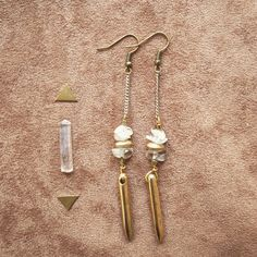 CRYSTAL QUARTZ ARROW Earrings  tribal jungle by SiamicWear on Etsy