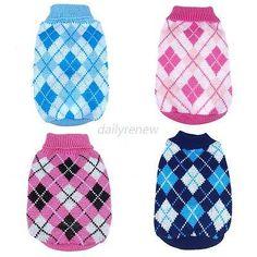 3.3 Small Puppy Pet Dog Cat Warm Lattice Knitwear Sweater Coat Apparel Jacket XS-XXL