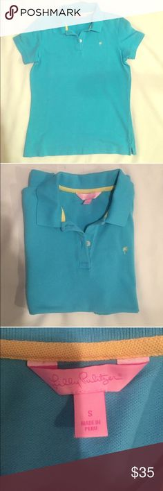 Lilly Pulitzer Polo Shirt Size Small Bright blue short sleeve polo by Lily Pulitzer. Great for summer and vacation. Features two button closure. In excellent condition. Lilly Pulitzer Tops Tees - Short Sleeve