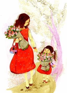 Art - Mother & Child, Mamá e hija Love Mom, Mothers Love, Mother Daughter Art, Jolie Photo, Mother And Child, Cute Illustration, Mom And Baby, Cute Art, Anime Art