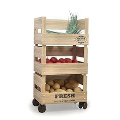 Diy Wood Rack Beautiful Wooden Trolley 3 Tier Kitchen Fresh Ve Able Fruit Storage Rack. Kitchen Storage Trolley, Kitchen Rack, Diy Kitchen, Vegetable Rack, Vegetable Storage, Vegetable Drawer, Produce Storage, Fruit Storage, Wooden Diy