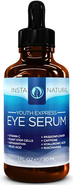 InstaNatural Eye Serum For Dark Circles, Puffiness and Wrinkles - With 10% Vitamin C, Astaxanthin, Kojic Acid and Caffeine – 1oz