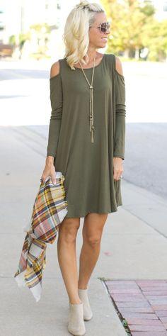 Olive Green Cold Shoulder Dress - www.shopcsgems.com