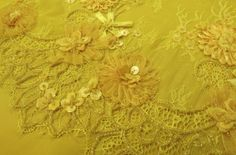 Canary Yellow Double Scalloped Lace With Embroidered Pop Out Ribbon Flowers