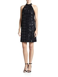 f81b0fb6dab Laundry by Shelli Segal - Sequined Diamond-Lace Dress Little Black Cocktail  Dress