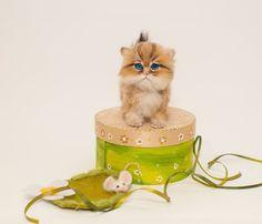 Persian cat / British cat golden chinchilla /Cat/Felted Miniature Animal Sculpture Portrait /Pet portrait /kitten/Wool animal Ooak sculpture