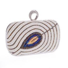 Peacock Fur Feather Beaded Synthetic Crystal Clutches