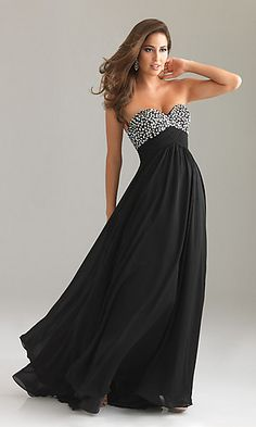 Empire waist strapless prom dress (or formal gown). I like black, but there is lilac, white, and turquoise also