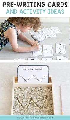 Prepare your little learner to start writing with this set of 32 pre-writing cards! Preschool Writing, Preschool Learning Activities, Preschool Printables, Toddler Activities, Kids Learning, Preschool Readiness, Children Writing, School Readiness Program, Montessori
